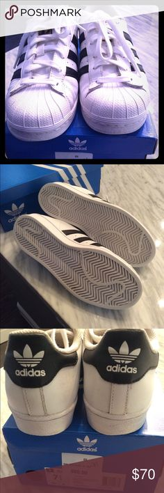 Adidas Gently used Superstar Adidas.  Ships with original box.  Run small. Adidas Shoes Athletic Shoes
