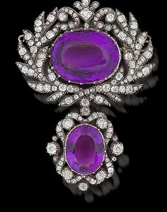 Amethyst And Rose-Cut Diamond Brooch Mounted In Silver And Gold  c.1820