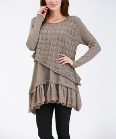 Look what I found on #zulily! Khaki Asymmetrical-Crochet Lace-Layered Tunic by Simply Couture #zulilyfinds
