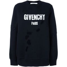 Givenchy distressed logo sweatshirt ($1,190) ❤ liked on Polyvore featuring tops, hoodies, sweatshirts, black, logo top, distressed top, givenchy sweatshirt, ripped tops and ripped sweatshirt