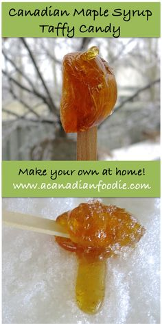 Canadian Maple Syrup Taffy Candy: Learn how to make this East Coast Traditional Sweet at Home! SO easy. SO delicious. SO Canadian. www.acanadianfoodie.com