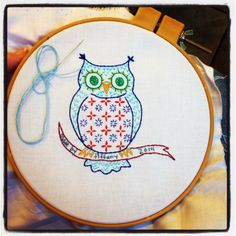 owl embroidery by East Dakota Quilter (quilt label with link to pattern)