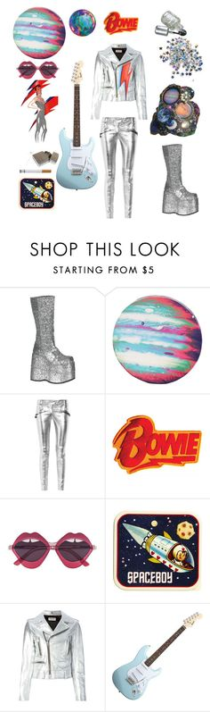 """""""""""Ziggy Stardust"""" by David Bowie"""" by lauren-curtis-1 ❤ liked on Polyvore featuring Demonia, GALA, Balmain, House of Holland, ASOS, Yves Saint Laurent and Daphne"""