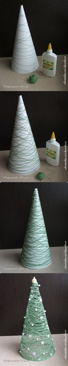 "Christmas string tree..do a few different sizes to make a centerpiece.Do with white cord, spray with tack, sprinkle with irredescent, do a ""forest"" of them."