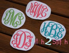 "I2S Intertwined Vine Interlocking Monogram Embroidery Font in sizes 1.5"", 2.5"" and 3.5"" (larger sizes sold separately)  http://www.theitch2stitch.com/How-to-Use-the-BX-format-with-Embrilliance_b_6.html"
