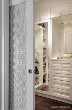 Perforated metal panel from IMS /McNichols -shutter doors in white for Paloma & Guest /black for Leo- or wood - Beautiful sliding door