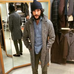 henrybucks:Antonio in the Eidos  unlined Raincoat style in wool herringbone.