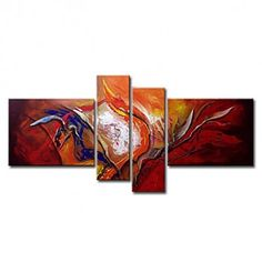 Hand-painted Oil Painting Abstract Oversized Wide Set of 4 - OutletsArt.com