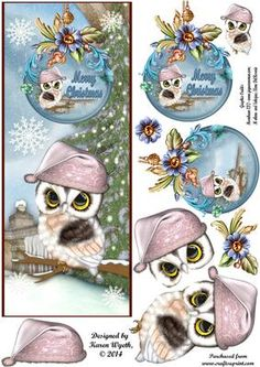 Enchanting Christmas Owl DL on Craftsuprint designed by Karen Wyeth Christmas Decoupage, Christmas Card Crafts, Christmas Owls, Christmas Images, Xmas Cards, Decoupage Vintage, Decoupage Paper, 3d Cuts, Christmas Sheets