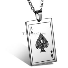 2015 New Fashion Jewelry for Mens Playing Cards Spades A Pendant 316L Stainless Steel Men's Necklace 55cm Chain