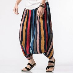 8ab9f024fb6 Mens Striped Printed Harem Pants Cotton Casual Baggy Loose Trousers Fashion  Wide Legs Trousers is warm