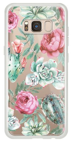 Casetify Galaxy Classic Snap Case - Cute Succulent Watercolor Painted Flower Cactus Pattern by BlackStrawberry