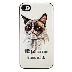 Angry Cat Pattern Aluminatcement Hard Case för iPhone 4/4S – SEK Kr. 48