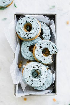 """Luxuriously moist Carrot Cake Donuts topped with a """"Robin's Egg"""" buttercream frosting. So perfect for spring, am I right? Easter Recipes, Brunch Recipes, Breakfast Recipes, Dessert Recipes, Breakfast Dessert, Sweet Recipes, Cake Recipes, Cake Pops, Brown Food Coloring"""