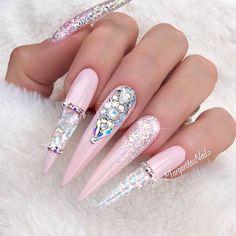 Nude Pink Stiletto Nails by MargaritasNailz from Nail Art Gallery Pink Stiletto Nails, Glam Nails, Bling Nails, Fun Nails, Bling Nail Art, Pink Bling, White Nails, Fabulous Nails, Gorgeous Nails