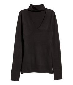 Fine-knit Mock-turtleneck Top | Black | Ladies | H&M US