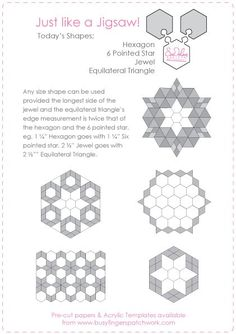 Hexagon 6 pointed star jewel equilateral triangle designs
