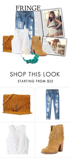 """Cowgirl - Fringe"" by terri02 ❤ liked on Polyvore featuring Vanessa Mooney, Yves Saint Laurent, Chicnova Fashion, Rebecca Taylor, Neiman Marcus and fringe"