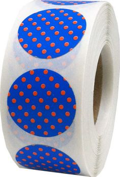 Blue Stickers with Orange Polka Dots  0.75 Inch by TheDotSpotLane