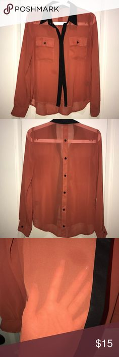 Chiffon Long Sleeve Button Down • Blood Orange [WORN 1x • EXCELLENT CONDITION] Pair with a pencil skirt & heels for a look that wows in a crowd. Love Culture Tops Button Down Shirts
