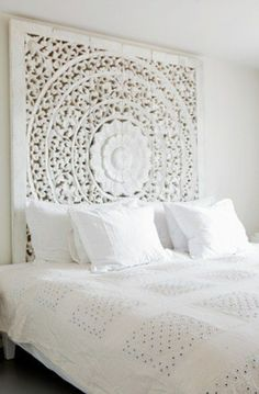 Large White Headboard Or Wall Art Panel, Wall Hanging Decorative From Thailand. Asian Home Decor. King Bed Headboard, White Headboard, Panel Headboard, King Comforter, Comforter Sets, White Bedroom Design, White Interior Design, Contemporary Interior, Asian Home Decor