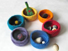 Rainbow felted bowls  waldorf toy  valentine by theYarnKitchen, $68.00