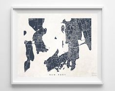 New Port Rhode Island Print Map State Nursery by InkistPrints