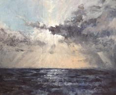 Cornwall, view out across Godrevy, oil on board, Alison Vasey