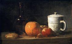 The Athenaeum - Still Life with Tin-Glazed Jar, Fruit and Bottle (Jean-Baptiste-Simeon Chardin - )