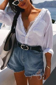 Versatile Button Cover Shirt – Chicmony Summer Kimono, Summer Cardigan, Ripped Shorts, Denim Romper, Shirt Blouses, Shirts, Flare Pants, Covered Buttons, Summer Outfits