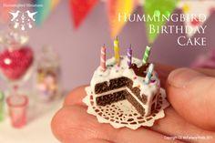 Hummingbird Birthday Cake 1/12 scale dollhouse miniature. $41.00, via Etsy.