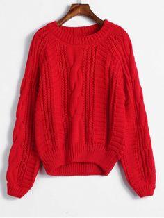 Raglan Sleeve Cable Knit Chunky Sweater ddfa6c46b