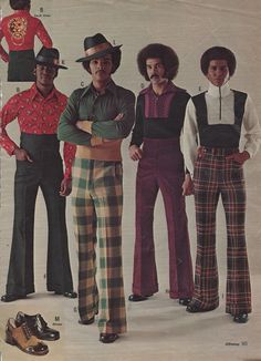 Stylin' menswear from JC Penney, 1973. Particularly loving the door knocker back piece. Just wow.
