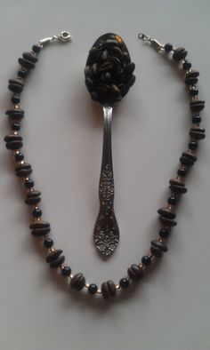 Real Coffee Bean beaded necklaces handmade