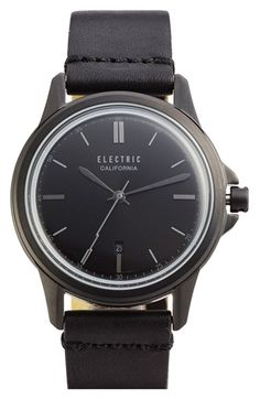 Electric 'Carroway' Leather Strap Watch