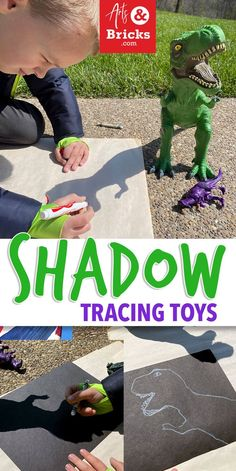 Shadow Tracing Toys – Arts and Bricks This simple afternoon-sun activity requires only two craft supplies: a white crayon and a piece of black paper, plus toys! We also pulled out a pad of big paper! Get outside, get some sunshine and make art! Drawing Activities, Art Activities For Kids, Preschool Art, Educational Activities, Preschool Activities, Art For Kids, Outdoor Education, Outdoor Learning, Art Education