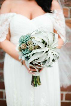 Succulent bridal bouquet | photo by Megan Welker | 100 Layer Cake | Bride