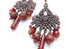 copper earrings with brocante Czech beads (S-534a)
