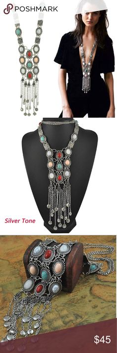Retro Rhinestone Logo Boho Statement Necklace Absolutely gorgeous Retro vintage gothic turquoise necklace. Environmentally-friendly Turquoise and Alloy silver. Hypoallergenic. Great to match with your suitable apparel for different occasions. Special design and unique structure. A very popular item. Free gift with purchase. Niti's Boutique Jewelry Necklaces