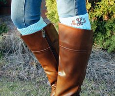 Monogrammed Boot Cuffs are perfect for the girl who has everything! Shop Monogrammed Footwear and accessories on www.shopmemento.com!