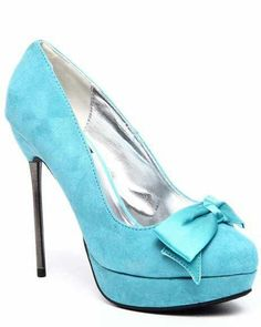 Teal heels with bow. Want