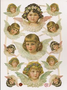 German Victorian Style Embossed Scrap Die Cut - Angels Christmas / Easter EF7315