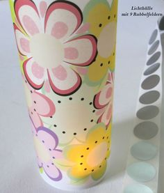 **transparente Lichthülle Blumen, für Teelicht oder LED - DEINE Botschaften frei rubbeln** 9 !! Rubbelfelder (3cm) jeweils in der Blüte. Auch ein Marienkäfer ist dabei (ohne Rubbelfeld)  Ins...