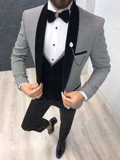 Size Suit material: Satin Fabric, Lycrawashable : No Fitting :Slim-fit Remarks: Dry Cleaner Season : 2019 Spring Wedding Season wedding suits for men Cristian White Checked Tuxedo Slim Fit Tuxedo, Tuxedo For Men, Tuxedo Suit, Groom Wedding Blazers, Wedding Tuxedos, Groom Tuxedo Wedding, Prom Tuxedo, Bride Groom, Mens Fashion Suits