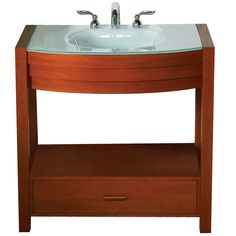 Update the décor in your bathroom with this contemporary, cherry vanity from Sag Harbor. The 8-inch vanity is compact enough to fit in small spaces, and features a drawer at the bottom that gives you room to store your bathroom essentials.