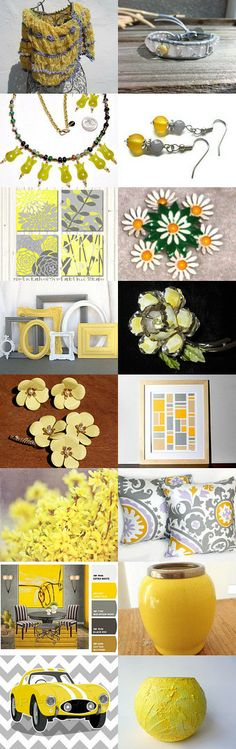 Grey and Yellow-- by Barbra and Meredith on Etsy--Pinned with TreasuryPin.com
