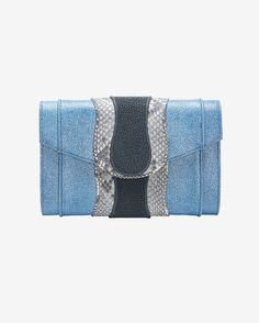 Khirma Eliazov Herzog Python/Stingray Clutch: Blue Jean