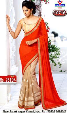 Georgette with orange colour