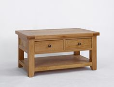 lyon oak coffee table with drawer and shelf | oak coffee table
