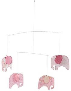 Hanging Mobile - Pink Elephants by Mobi